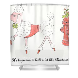Christmas Poodle Shower Curtain
