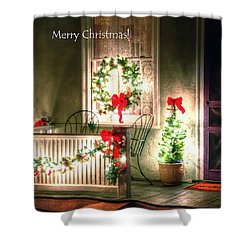 Christmas Porch Shower Curtain by Jerry Sodorff