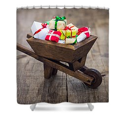 Christmas Presents Shower Curtain by Aged Pixel