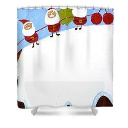Christmas Pudding And Santas Shower Curtain by Magdalena Frohnsdorff