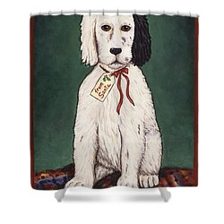 Christmas Puppy Shower Curtain by Linda Mears