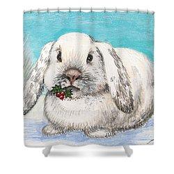 Christmas Rabbit Shower Curtain by Margaryta Yermolayeva