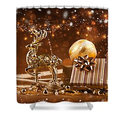 Christmas Reindeer In Gold Shower Curtain