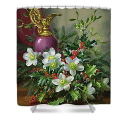Christmas Roses Shower Curtain by Albert Williams
