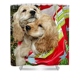 Christmas Shopping Shower Curtain by Sami Martin