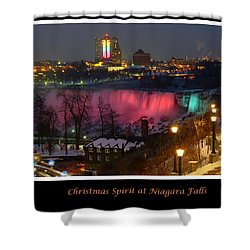 Christmas Spirit At Niagara Falls - Holiday Card Shower Curtain by Lingfai Leung