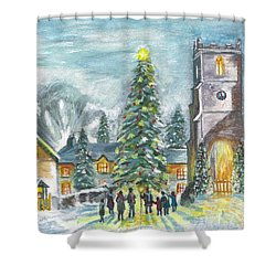 Shower Curtain featuring the painting Christmas Spirit by Teresa White