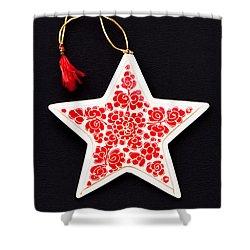 Christmas Star Shower Curtain by Anne Gilbert