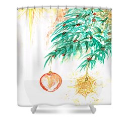Shower Curtain featuring the painting Christmas Star by Teresa White