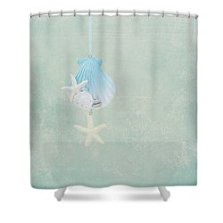 Christmas Starfish Shower Curtain by Kim Hojnacki