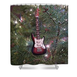 Christmas Stratocaster Shower Curtain by Richard Reeve