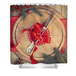 Christmas Table Setting Shower Curtain by Amanda Elwell