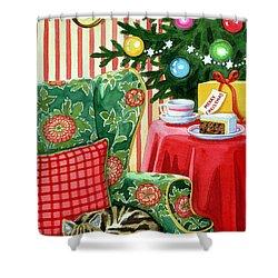 Christmas Tea Shower Curtain by Lavinia Hamer