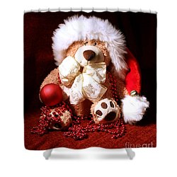 Christmas Teddy Shower Curtain by Terri Waters