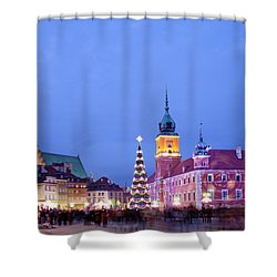 Christmas Time In Warsaw Shower Curtain by Artur Bogacki