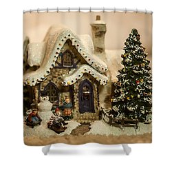 Shower Curtain featuring the photograph Christmas Toy Village by Alex Grichenko