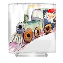 Christmas Train With Santa Claus Shower Curtain