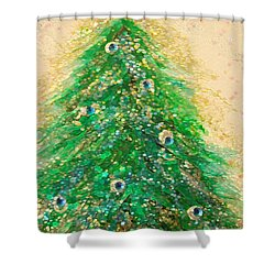 Christmas Tree Gold By Jrr Shower Curtain by First Star Art