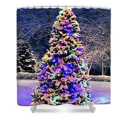 Christmas Tree In Snow Shower Curtain