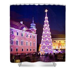 Christmas Tree In Warsaw Old Town Shower Curtain by Artur Bogacki