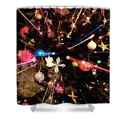 Shower Curtain featuring the photograph Christmas Tree Lights by Vizual Studio