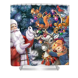 Christmas Tree-rudolph Shower Curtain