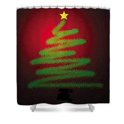 Christmas Tree With Star Shower Curtain by Genevieve Esson