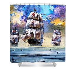 Christopher Columbus's Fleet  Shower Curtain by English School