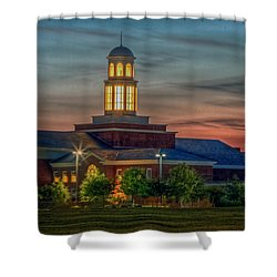 Christopher Newport University Trible Library At Sunset Shower Curtain