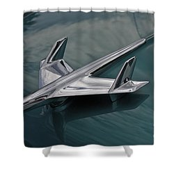 Chrome Airplane Hood Ornament Shower Curtain by Linda Bianic