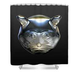Chrome Cat Shower Curtain by Stacy C Bottoms