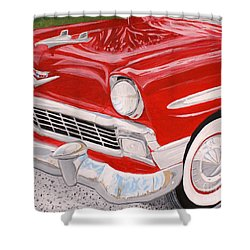 Chrome King 1956 Bel Air Shower Curtain by Vicki Maheu