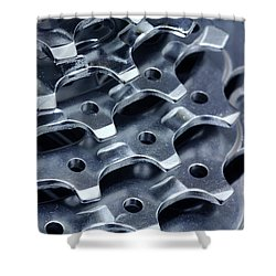 Chromed Shiny Gear Shift Shower Curtain