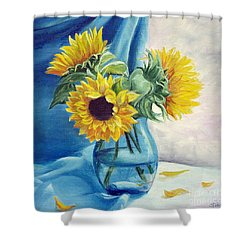 Shower Curtain featuring the painting Chrysanthemums by Sorin Apostolescu