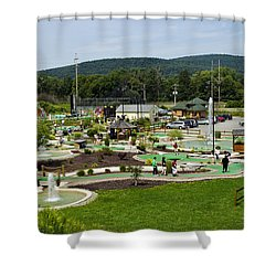 Chuckster's Mini Golf Course Shower Curtain by Christina Rollo
