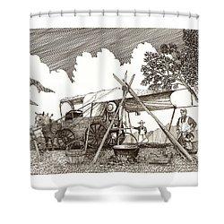 Chuckwagon Cattle Drive Breakfast Shower Curtain by Jack Pumphrey