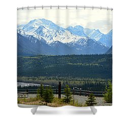 Chugach Mountains Shower Curtain by Andrew Matwijec