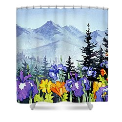 Shower Curtain featuring the painting Chugach Summer by Teresa Ascone