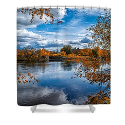 Church Across The River Shower Curtain by Bob Orsillo