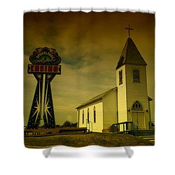 Church And Casino Those Two Angels  Shower Curtain by Jeff Swan