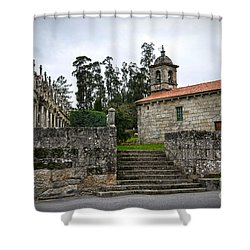 Church And Cemetery In A Small Village In Galicia Shower Curtain