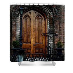 Church Arch And Wooden Door Architecture Shower Curtain by Lesa Fine