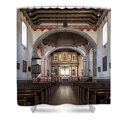 Church At Mission San Luis Rey Shower Curtain by Sandra Bronstein