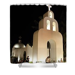 Church At Night In Playa Del Carmen Shower Curtain by Roupen  Baker