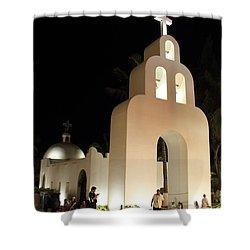 Church At Night In Playa Del Carmen Shower Curtain