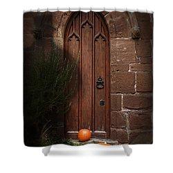 Church Door At Halloween Shower Curtain by Amanda Elwell