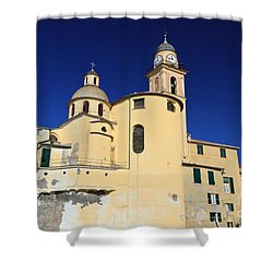Shower Curtain featuring the photograph Church In Camogli by Antonio Scarpi