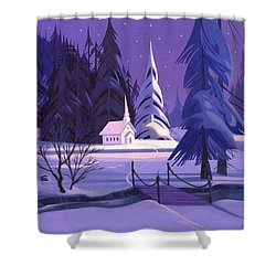 Church In Snow Shower Curtain by Michael Humphries