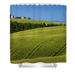 Church In The Field Shower Curtain by Brian Jannsen