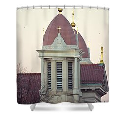 Church Of Gold Crosses Shower Curtain by Maria Urso
